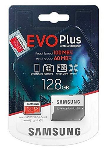 Samsung, Evo Plus, Micro SD SDXC da 128 GB, classe 10 U3, scheda di memoria, 100MB S, 4K Ultra HD, MB-MC128HA EU