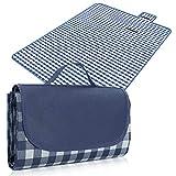 Rantizon Picnic Blankets,Waterproof Picnic Blanket Folding Large Picnic Blankets Compact Picnic Mat Lightweight Picnic Blankets with Waterproof Backing Blue Gingham Picnic Blanket 200 x 220 cm