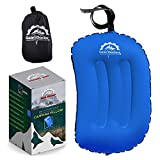 Gear Doctors Anti-Slip Ultralight Inflatable Camping Pillow -Ergonomic Design for Maximum Neck and Back Support - Compact and Comfortable Perfect for Camping Hiking (Blue Camping Pillow)