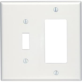 Thermoset 25 Pack Leviton 80605-T 2-Gang 1-Toggle 1-Decora//GFCI Device Combination Wallplate Light Almond Midway Size Device Mount