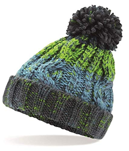 Gorro de invierno cálido con pompón, sacacorchos, cable de punto, color gris...