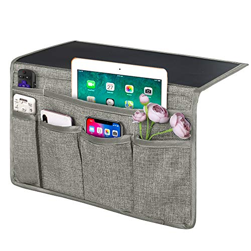 Joywell 6 Pockets Bedside Caddy/Bedside Organizer, Romote Control Holder Bed Storage for Tablet, Phone, Glasses, iPad, Insert Mattress & Couch, Light Grey