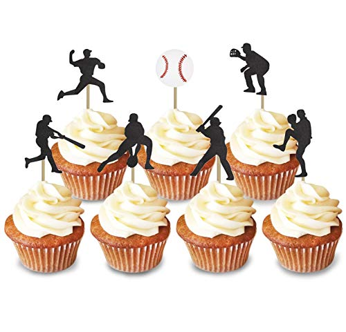KAPOKKU 30 pcs Baseball sports Happy Birthday Cupcake Topper, Birthday Party Baby Shower Cupcake Decoration, Sports Theme Cupcake Topper for Kids Adult Birthday Party Supplies