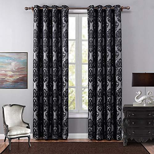 Naturer Vorhang Wohnzimmer Modern 2 Set mit Blume 140x260 Lang mit ösen Schwarzer Jacquard Muster Verdunkelungsvorhänge Landhaus Stil für Wohnzimmer Schlafzimmer