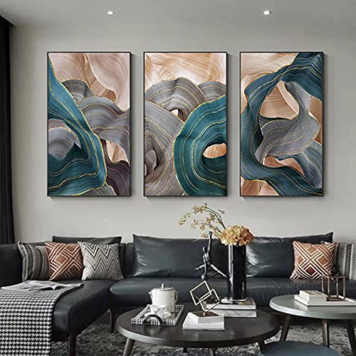 Pintura de lienzo nórdica, carteles de cinta de lujo abstractos modernos, impresiones, imágenes artísticas de pared para la sala de estar, decoración del dormitorio, arte dorado-50x70cmx3 (sin marco)