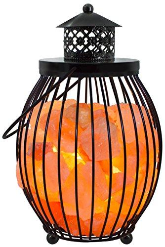Gadgy ® Lampe en Cristal de Sel de l'Himalaya Panier Métal | 17,5x17,5x27 cm Variateur | Sculptée à la Main | Cristaux de Roche Rose | Naturelle & Thérapeutique | Lampe Table Chevet
