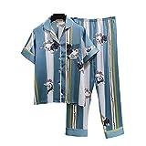 Nvshiyk Las Mujeres Ropa de Dormir Ropa de Dormir Wear Daily casa la Ropa de 2 Pedazos Perro de Rayas de Manga Corta Pantalones de satén Pijamas de Las señoras Comfort Soft para el Verano