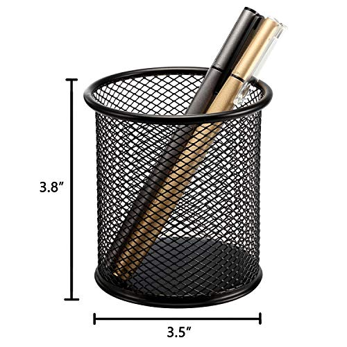 [4 Pack] Pen Holder - Pencil Holder for Desk - Metal Mesh Office Desk Pen Organizer Holders - Medium Sized Black Pen Cup Pencil Cup Photo #5