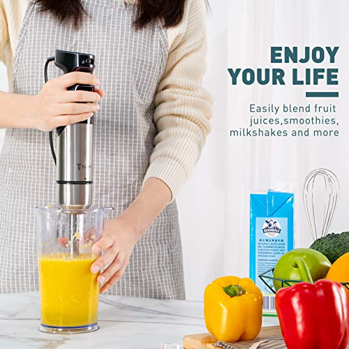 TSYMO 400W Stepless Speed Immersion Blender with Safety Lock