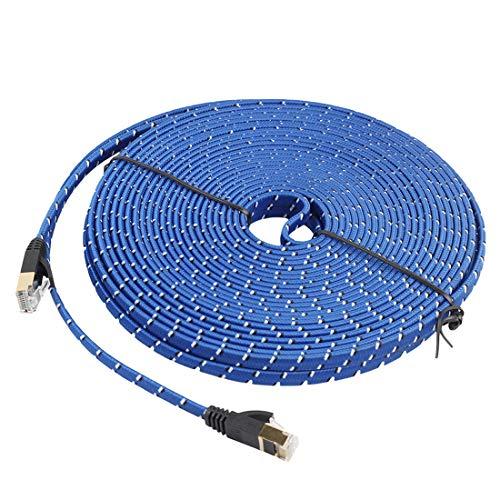 Cable Ethernet, 20m chapado en oro CAT-7 10 Gigabit Ethernet Ultra Flat Cable de conexión for módem router de red LAN, construido con conector RJ45 blindado, Enrutador, Módem, PC, Interruptores, Hub,