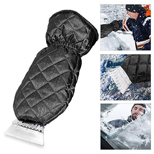 Migimi Auto Eiskratzer, Winter Eiskratzer mit Handschuh Schneeschaufel Eisschaber kratzt Frost und Eis von Frontscheiben, Windschutzscheibe Eiskratzer Heckscheiben und Seitenfensterner - Schwarz