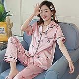 MLDSJQJ Conjuntos de Ropa de Dormir para Mujeres Conjunto de Pijamas Encantador Seda de Manga Corta + pantalón Largo Ropa para el hogar Ropa Interior de Mujer Estilo Perezoso | C,X ZD yizhimei,XXL