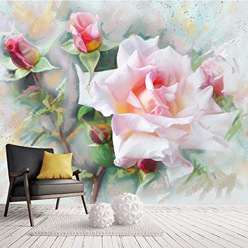 Msrahves tv fotoachtergrond Romantiek mooi roze bloemen 300X210CM 3D verwijderbare muursticker Art Pvc-sticker Decor…