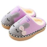 SITAILE Cute Home Shoes, Girls Boys Fur Lined Indoor House Slipper Bunny Warm Winter Toddler Slippers Apurple Size 11-12.5 Little Kid