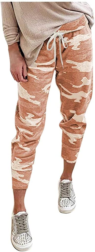 Hessimy Sweatpants for Women with Pockets,Womens Active Workout Joggers Drawstring Lounge Pants Camouflage Sweatpants