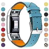 ametonuk - Cinturino in vera pelle per Fitbit Charge 2, donna, uomo , for Fitbit Charge2, Blu