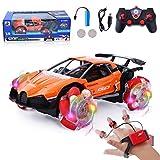 FORMIZON RC Voiture, Stunt Car Télécommandée, 4WD Stunt Car , Véhicules Radiocommandée, Batterie Rechargeable Jouet Auto Cadeau pour Enfants et Adultes (Orange)