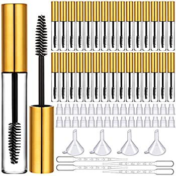 30 Pieces 10 ml Empty Mascara Tube and Wand Empty Mascara Containers Empty Eyelash Tubes Bottle with Rubber Inserts 4 Funnels and 4 Transfer Pipettes for Mascara Samples  Golden