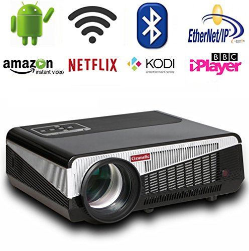 Gzunelic 6500 lumens Android WiFi Video Projector 1080P LCD LED Full HD Theater Proyector with Bluetooth Wireless Synchronize to Smart Phone by Airplay or Miracast Ideal for Home Entertainment