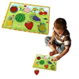 Toy Cubby Kids Toddler Wooden Pegged Various Puzzle Board Set- 2 to 3 inches Various Fruit Puzzle Piece