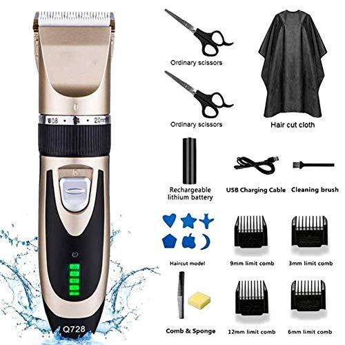 Easy-topbuy Professionnelle Tondeuse Cheveux Tondeuse Cheveux Hommes Homme Kit Coupe-Cheveux Affichage LED Rechargeable sans Fil avec 4 Peignes De Guidage Batterie Li-ION Rechargeable
