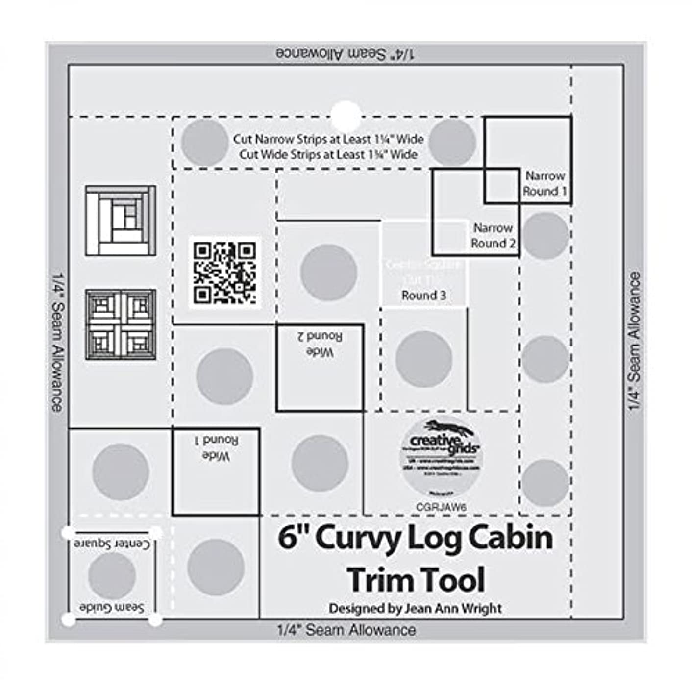 Creative Grids Curvy Log Cabin Trim Tool Quilting Ruler Template for 6