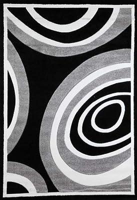 Flora Carpets 7418A-330-BLA/GRE MODERN FRISE/SUPERVERSO Tapis de Salon, Noir/Gris, 330 x 240 cm