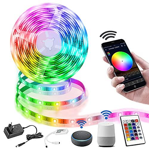 LED Strip 10M, Smart RGB LED Streifen WiFi Farbwechsel LED Lichterkette, Musik Sync LED Strip mit Fernbedienung, LED Band Dimmbar, 16 Millionen Farben, Timermodus, arbeit mit Alexa [Energieklasse A]