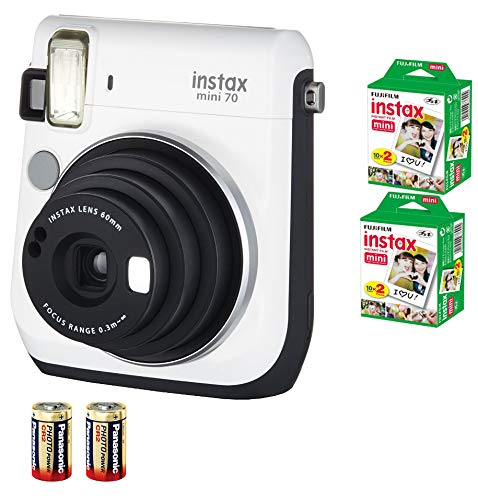 Bundle Fuji Instax Mini 70 Instant Camera White + 40-shot Film + 2 Spare CR2 Battery: all you need to start Instant photography