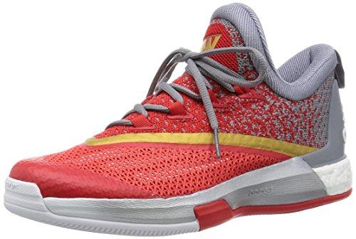 adidas Herren Crazylight Boost 2.5 Low Basketballschuhe, White/Grey/Red (Ftwbla/Grey/Rojint), 40 2/3 EU