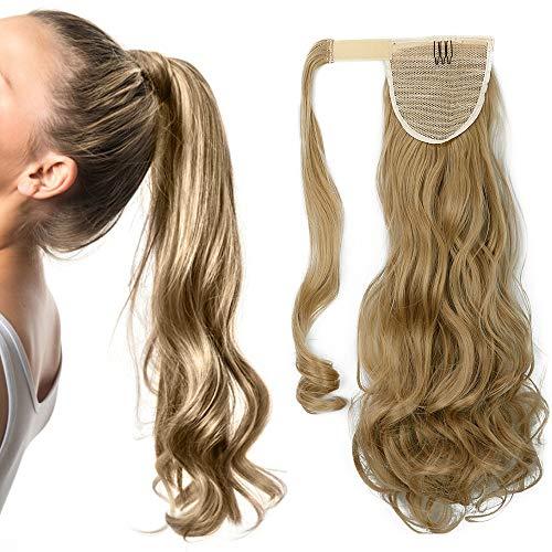 Ponytail Clip in Pferdeschwanz Extension Haarteil Haarverlängerung Zopf Hair Piece gewellt Wavy wie Echthaar Mittelblond Wavy-24