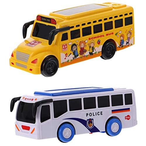 HYLX 2021 Nuevo Coche de Juguete, autobús Escolar, Coche de policía, Juguete, Tiempo de Juego, autobús, Juguete, vehículo eléctrico de fricción con Luces y Sonidos, Adecuado para niños