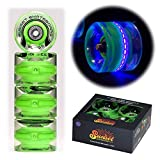 Sunset Skateboard Co. 59mm 78a LED Light-Up Cruiser Wheels (4-Pack) with ABEC-7 Carbon Steel Bearings for Glow-in-The-Dark, All Ages & Skill Levels Skating Fun with No Batteries Required (Blacklight)