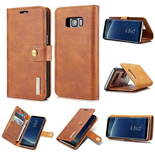 Qilo For S8 de Samsung de la Caja de la Carpeta del teléfono del Pulgar de Cuero de Lujo for Samsung S8 magnetizado Carcasas y Fundas (Color : Brown)