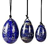 3 unids Perforados Lapis Lazuli Yoni Egg Set Natural Jade Huevos para Yoni Massage Kegel Ejercitador-Huevos 3pc