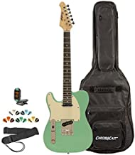 Sawtooth ST-ET-LH-SGRW-KIT-2 Left Handed Electric Guitar, Surf Green with Aged White Pickguard