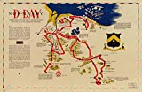 Vintage 1944 to 1945 Map of D-day Normandy : the invasion and the first 48 days of action with the 743rd tank battalion in France France, Normandy