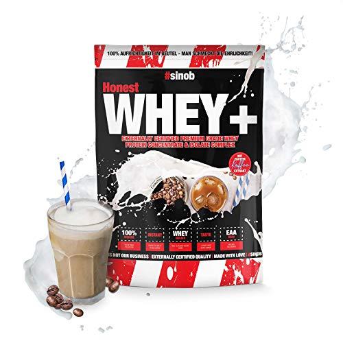 sinob Honest Whey Protein - Eiskaffee - 1 x 1000 g. 12,5% Isolate Anteil. Instant lösliches Eiweißpulver mit BCAA & EAA 'Hergestellt in Deutschland'