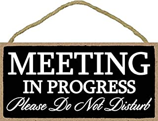 Meeting in Progress Please Do Not Disturb - 5 x 10 inch Hanging Door Sign for Office Commerical Use