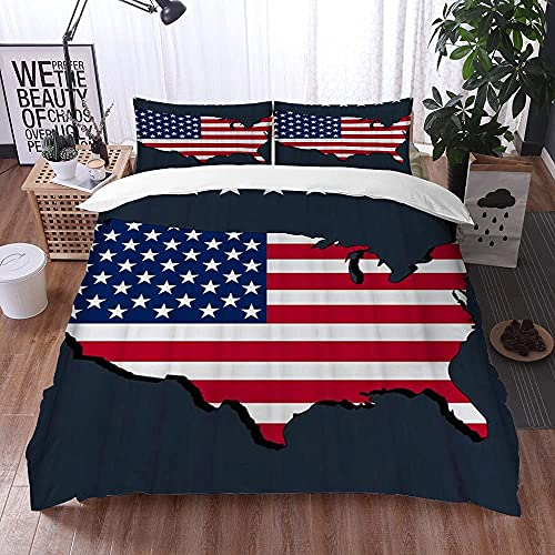 ETDWA Set copripiumino, una Bandiera Americana Sulla mappa Americana con molte Stelle sfondo Grigio, Set copripiumino in Microfibra 220 x 240 cm con 2 federa 50 x 80 cm