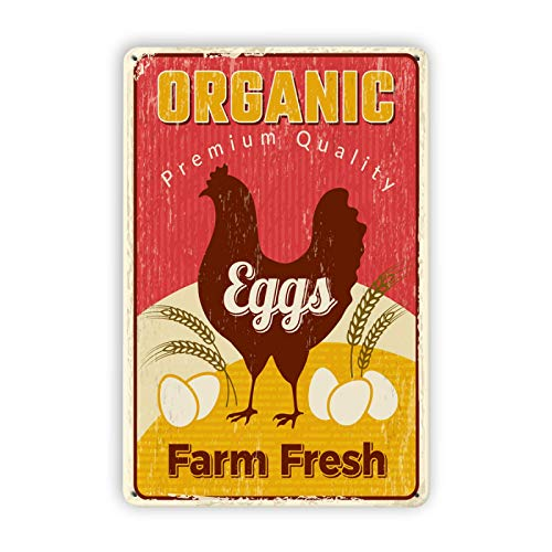 Farm Fresh Eggs,Organic Premium Quality Eggs,Chicken Yard Signs Chicken Coop Signs,Chicken Stuff,Chicken Wall Plaque for Home Kitchen,Great Gift for Poultry,8x12in(196fe-02)