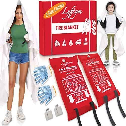 LYFTYM Manta ignífuga – Paquete de 2 – Manta grande y pequeña | Manta de emergencia | Extintor de incendios sin ensuciar | estufa, parrilla, chimenea, coche, camping, hogar, estufa de gas, cocina | Viene con guantes y ganchos