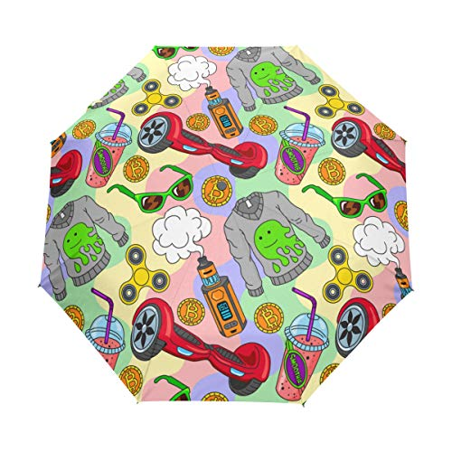 SUHETI Compact Travel Umbrella Windproof Automatic,Hoverboard Fidget Spinner Vape Ecigarettes Smoothie,Waterproof Umbrella