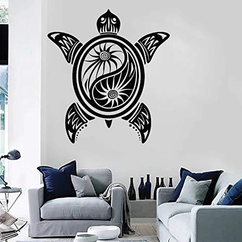 Pegatina de pared de vinilo de tortuga Yin Yang budista Yoga pegatina estudio sala de estar dormitorio decoracin del hogar