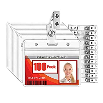 MIFFLIN Horizontal Plastic Card Holder with Metal Clip and Vinyl Straps  Clear 3.5x2.25 Inch 100 Pack  Waterproof PVC ID Name Badge Holder with Clip