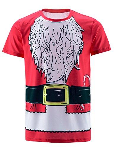 COSAVOROCK Maglietta T-Shirt Costume da Babbo Natale di Uomo Rosso XL