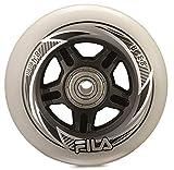 Fila Wheels 84mm/83A + ABEC7+ Aluminio Spacer Ruedas de 8mm, Color Blanco