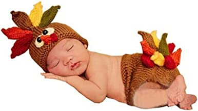 Ufraky Baby Turkey Knitted Crochet Hat Diaper Newborn Infant Photography Prop Costumes(Turkey)