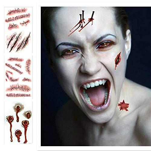 Tatuajes temporales para Disfraz de Halloween en 3D, Zombie Cicatrices Tatuajes Pegatinas con Falso Scab Sangre (10 Hojas)