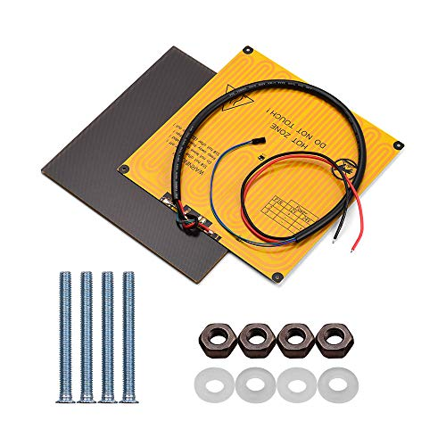 Fesjoy Heated Bed, Ultrabase Platform, 220 * 220mm Ultrabase Platform Glass Plate Build Surface + Aluminum Heated bed Hotbed 12V with Wire Cable for A8 A6 for I3 Mega for P802M P802E 3D Printer
